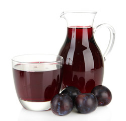 Delicious plum juice isolated on white