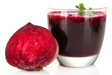 Fresh juice of beets isolated on white