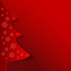 Abstract red vector Christmas background with tree
