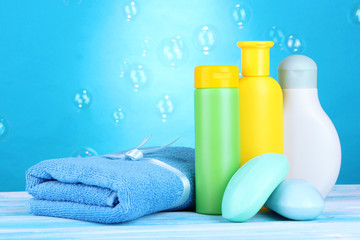 Baby cosmetics, towel and soap