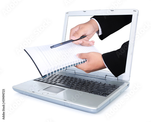 Hand carry books and pens out of the laptop screen