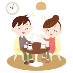 同棲カップル お茶を飲みながら会話