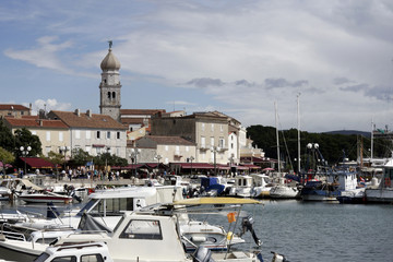 Harbor of Krk in Croatia on the Adriatic Coast