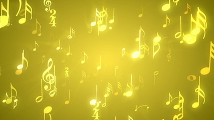 Musical Notes Gold - Music Themed Video Background Loop