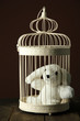 Toy rabbit in decorative cage
