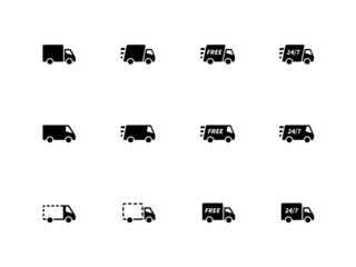 Delivery Trucks icons on white background.