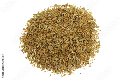Dried Italian Seasoning mix isolated on white background