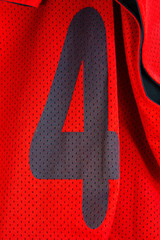 Number four on red shirt