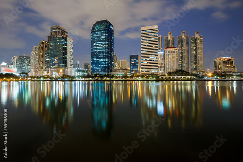 Water reflection of Cityscape Skyline Lighting