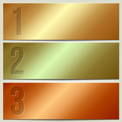 Vector infographic enumerated metallic presentation banner set