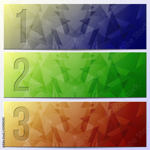 Vector infographic enumerated textured presentation banner set