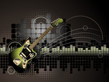 Electric Guitar Music Background - Vector