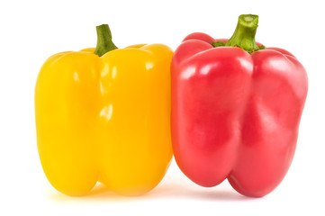 Yellow and red sweet pepper isolated on white background.