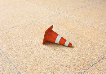 Traffic cone on the ground