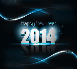 Vector beautiful 2014 happy new year card blue colorful wave bac