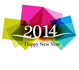 Happy new Year 2014 Beautiful celebration colorful background