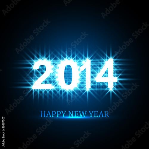 Vector Background for shiny Happy New Year 2014 text  blue color