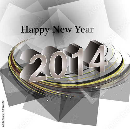 Vector happy new year 2014 reflection wave colorful creative des