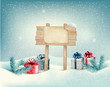 Christmas winter background with presents and wooden board. Vect