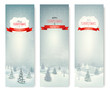 Christmas winter landscape banners. Vector