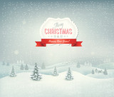 Fototapety Holiday christmas background with winter landscape