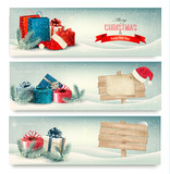 Fototapety Christmas winter banners with presents. Vector.