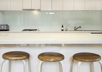 Kitchen splashback bench and stools