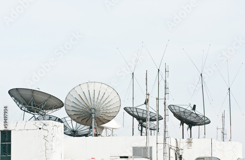 satellite dish and antenna on building