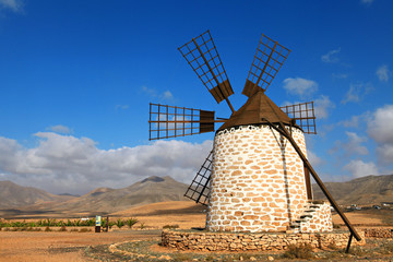 Old wind mill in Fuerteventura. Canary Islands.