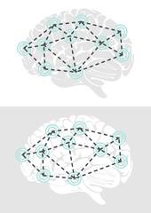 działanie mózgu widok z boku schemat elementy infograficzne