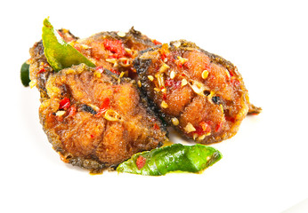 Spicy fried catfish close up