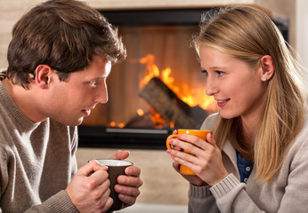 Hot drinks and fireplace