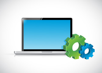 laptop computer and gear icons. illustration