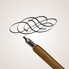 Calligraphy pen made of a twirl