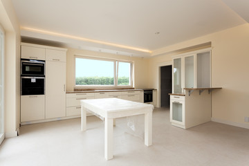 New kitchen with bright furniture