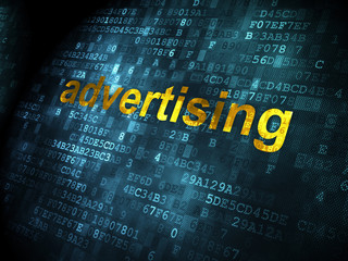 Advertising concept: Advertising on digital background
