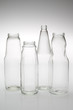 Various empty glass bottles isolated.