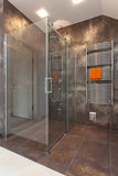 Glass shower in bathroom