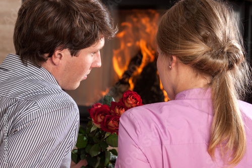Couple roses fireplace