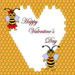 Two funny cartoon bees with a heart surrounded by honeycombs. Va