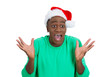 Shocked, surprised young christmas man