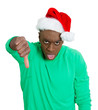 Grumpy, unhappy Christmas man giving thumbs down