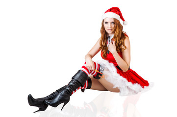 sexy christmas woman wearing santa claus clothes
