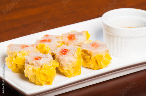 pork siomai with hot chili soy sauce