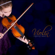 Young girl practicing the violin. Classic music.
