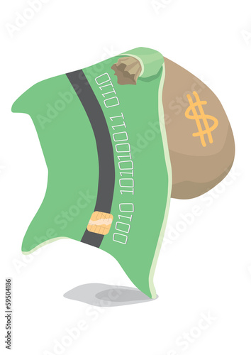 bank card and bag of money