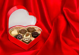 chocolate pralines in heart shape box. valentine gift