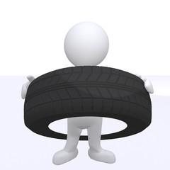 Mann mit Reifen