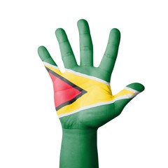 Open hand raised, Guyana flag painted