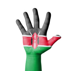 Open hand raised, Kenya flag painted